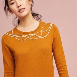 Anthropologie Field Flowers Pearl Collar Pullover